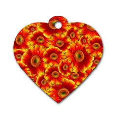 Gerbera Flowers Nature Plant Dog Tag Heart (two Sides)