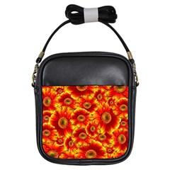 Gerbera Flowers Nature Plant Girls Sling Bags
