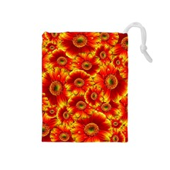 Gerbera Flowers Nature Plant Drawstring Pouches (medium)