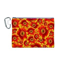 Gerbera Flowers Nature Plant Canvas Cosmetic Bag (m)