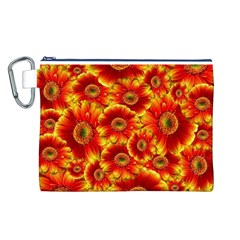 Gerbera Flowers Nature Plant Canvas Cosmetic Bag (l)
