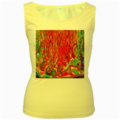 Background Texture Colorful Women s Yellow Tank Top