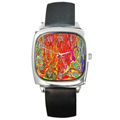 Background Texture Colorful Square Metal Watch