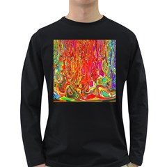 Background Texture Colorful Long Sleeve Dark T Shirts