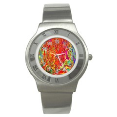 Background Texture Colorful Stainless Steel Watch