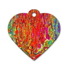 Background Texture Colorful Dog Tag Heart (one Side)