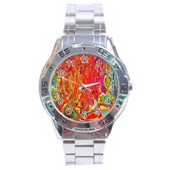 Background Texture Colorful Stainless Steel Analogue Watch