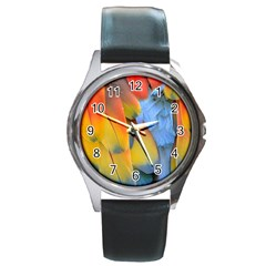 Spring Parrot Parrot Feathers Ara Round Metal Watch