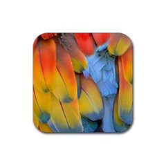 Spring Parrot Parrot Feathers Ara Rubber Square Coaster (4 Pack)