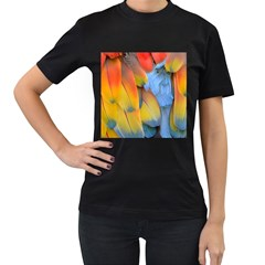 Spring Parrot Parrot Feathers Ara Women s T Shirt (black) (two Sided)