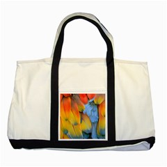 Spring Parrot Parrot Feathers Ara Two Tone Tote Bag