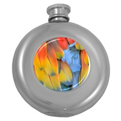 Spring Parrot Parrot Feathers Ara Round Hip Flask (5 Oz)