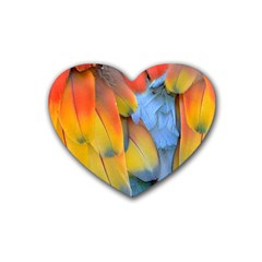 Spring Parrot Parrot Feathers Ara Heart Coaster (4 Pack)