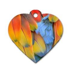 Spring Parrot Parrot Feathers Ara Dog Tag Heart (One Side)