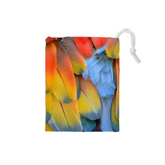 Spring Parrot Parrot Feathers Ara Drawstring Pouches (small)