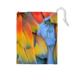 Spring Parrot Parrot Feathers Ara Drawstring Pouches (large)