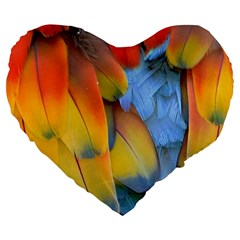 Spring Parrot Parrot Feathers Ara Large 19  Premium Flano Heart Shape Cushions