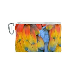 Spring Parrot Parrot Feathers Ara Canvas Cosmetic Bag (S)
