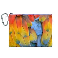 Spring Parrot Parrot Feathers Ara Canvas Cosmetic Bag (xl)