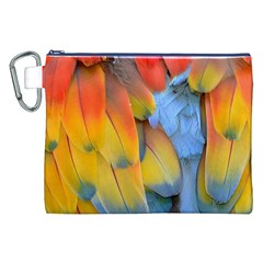 Spring Parrot Parrot Feathers Ara Canvas Cosmetic Bag (xxl)