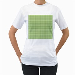 Gingham Check Plaid Fabric Pattern Women s T Shirt (white) (two Sided)