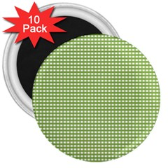 Gingham Check Plaid Fabric Pattern 3  Magnets (10 pack)