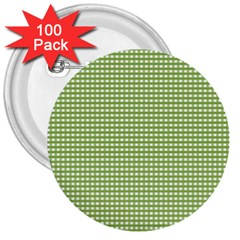 Gingham Check Plaid Fabric Pattern 3  Buttons (100 Pack)
