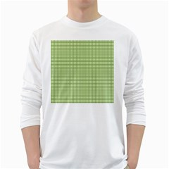 Gingham Check Plaid Fabric Pattern White Long Sleeve T Shirts