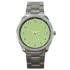 Gingham Check Plaid Fabric Pattern Sport Metal Watch