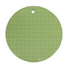 Gingham Check Plaid Fabric Pattern Round Ornament (Two Sides)
