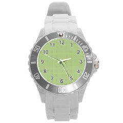Gingham Check Plaid Fabric Pattern Round Plastic Sport Watch (l)