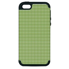 Gingham Check Plaid Fabric Pattern Apple Iphone 5 Hardshell Case (pc+silicone)