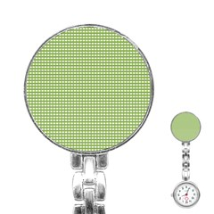 Gingham Check Plaid Fabric Pattern Stainless Steel Nurses Watch
