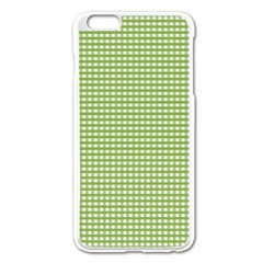 Gingham Check Plaid Fabric Pattern Apple Iphone 6 Plus/6s Plus Enamel White Case