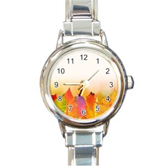 Autumn Leaves Colorful Fall Foliage Round Italian Charm Watch
