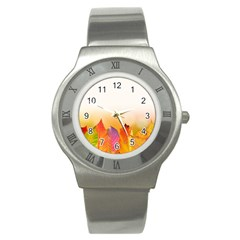 Autumn Leaves Colorful Fall Foliage Stainless Steel Watch