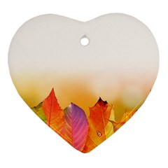 Autumn Leaves Colorful Fall Foliage Heart Ornament (two Sides)