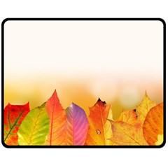 Autumn Leaves Colorful Fall Foliage Fleece Blanket (medium)