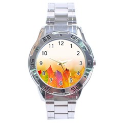 Autumn Leaves Colorful Fall Foliage Stainless Steel Analogue Watch
