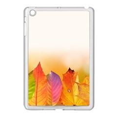 Autumn Leaves Colorful Fall Foliage Apple iPad Mini Case (White)