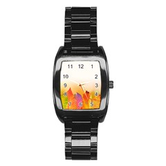 Autumn Leaves Colorful Fall Foliage Stainless Steel Barrel Watch