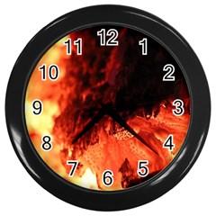 Fire Log Heat Texture Wall Clocks (black)