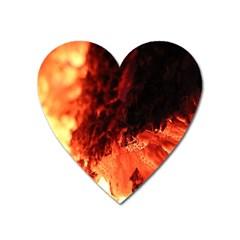 Fire Log Heat Texture Heart Magnet