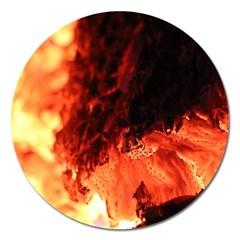 Fire Log Heat Texture Magnet 5  (Round)