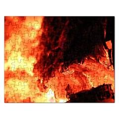 Fire Log Heat Texture Rectangular Jigsaw Puzzl