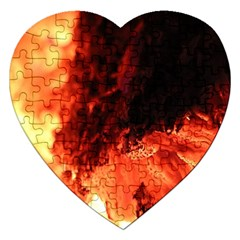 Fire Log Heat Texture Jigsaw Puzzle (heart)