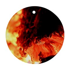 Fire Log Heat Texture Round Ornament (two Sides)