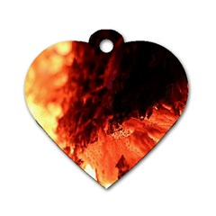 Fire Log Heat Texture Dog Tag Heart (two Sides)