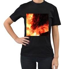 Fire Log Heat Texture Women s T-Shirt (Black)