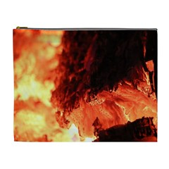 Fire Log Heat Texture Cosmetic Bag (xl)